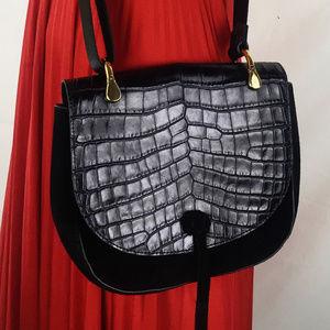 Embossed Croc Suede Crossbody Bag Zoe Saddle Black